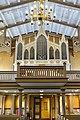 Tromsø Cathedral (domkirke) Norway interior. Gallery, Claus Jensen organ (orgel) 1863, chandelier (lysekrone), ceiling, main entrance doors, etc Wooden Gothic Revival style church 1861 2019-04-04 DSC02232.jpg