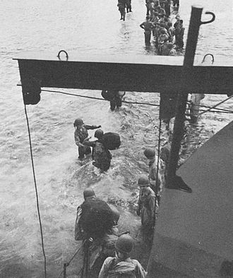 Operation Chronicle - American troops disembarking from a LCI