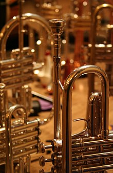 Image of a trumpet, foreground, a piccolo trumpet behind, and a flugelhorn in background.