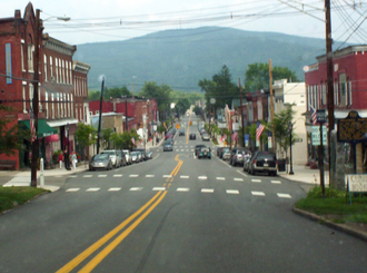Tunkhannock, Pennsylvania - Downtown Tunkhannock, looking east along Tioga Street (U.S. Route 6 Business).