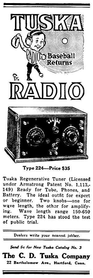 Clarence D. Tuska - Image: Tuska radio advertisement October 1922
