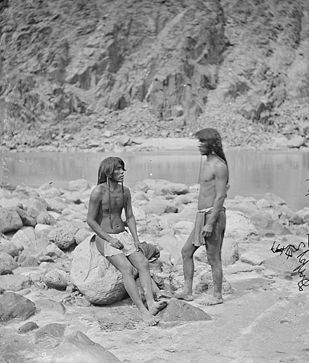 Two Mohave warriors beside the Colorado River in 1871 Two Mohave braves, western Arizona - Timothy O'Sullivan - NARA.jpg