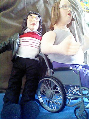 """Little Britain merchandise - Two 2005 talking Little Britain dolls of the characters """"Lou and Andy""""."""