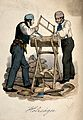 Two men saw at a log which is resting in a wooden cradle. Co Wellcome V0039783.jpg