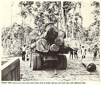 Liberia - Loggers and logging truck, early 1960s