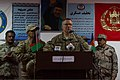 U.S. Army Maj. Gen. Paul J. LaCamera, center, with Regional Command South and the commanding general of the 4th Infantry Division, speaks at a graduation ceremony for the first all-female Afghan National Police 140109-Z-TF878-808.jpg