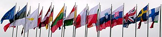 Member state of the European Union - The flags of the EU and the then-25 member states seen outside the European Parliament in 2004