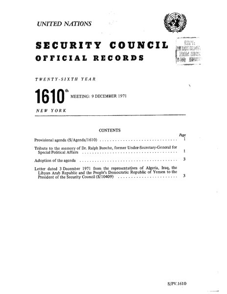 File:UN DOC S PV 1610 Security Council official records, 26th year, 1610th meeting, 9 December 1971.djvu