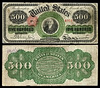 $ 500 Legal Tender note, Series 1862–63, Fr.183c, representando Albert Gallatin.