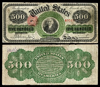Large denominations of United States currency - Image: US $500 LT 1863 Fr 183c
