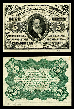 Nickel (United States coin) - Spencer M. Clark, Supervisor of the Currency Bureau, placed his own likeness on the five-cent U.S. Fractional currency note, leading directly to legislation prohibiting the depiction of any living person on U.S. currency.