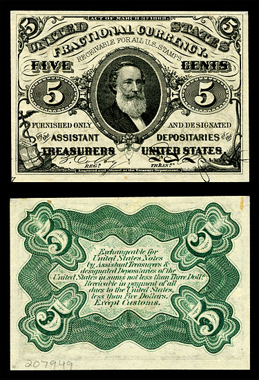 Spencer M. Clark, Supervisor of the Currency Bureau, placed his own likeness on the five-cent U.S. Fractional currency note, leading directly to legislation prohibiting the depiction of any living person on U.S. currency. US-Fractional (3rd Issue)-$0.05-Fr.1238.jpg