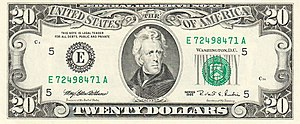 Series 1995 $20 Federal Reserve Note; basically unchanged since Series 1950 US-Series-1995-$20-Obverse.jpg