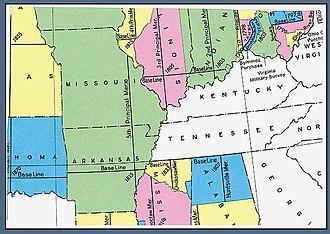 Fifth principal meridian - U.S. Bureau of Land Management maps showing the fifth principal meridian, north and south