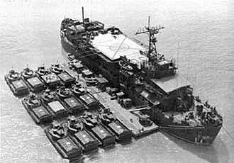 USS Colleton (APB-36) - USS Colleton (APB-36) with Armoured Troop Carriers in Vietnam, circa 1968