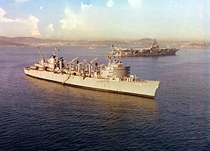 USS Detroit (AOE-4) and Independence (CV-62) off Toulon 1979.JPEG