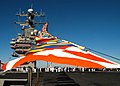 US Navy 031003-N-1121F-501 Flags fly from the deck to the top of the Island.jpg