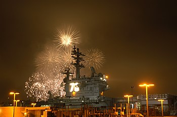 US Navy 040723-N-9214D-012 A fireworks display celebrates the homeporting of the Navy's newest and most technologically advanced aircraft carrier USS Ronald Reagan (CVN 76),.jpg