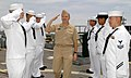 US Navy 050517-N-1397H-026 Commander, U.S. Pacific Fleet, Adm. Walter F. Doran, returns a salute as he passes through a sideboy detail aboard guided missile destroyer USS Howard (DDG 83).jpg
