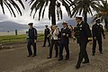 US Navy 061023-N-5330L-218 Capt. Perry Bingham, right, commanding officer of the guided-missile cruiser USS Anzio (CG 68), takes a walk through Tivat, Montenegro, with a Montenegrin representative after Anzio pulled into port.jpg