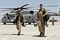 US Navy 080701-F-5735S-058 Marines assigned to Marine Heavy Helicopter Squadron (HMH) 465 walk away from a CH-53 Super Stallion helicopter at Naval Air Station (NAS) Lemoore.jpg
