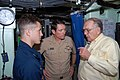US Navy 081205-N-9097M-004 Retired Cmdr. Corbin McNeill, a former submarine commanding officer, right, discusses the submarine community with Vice Adm. John J. Donnelly.jpg