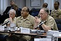 US Navy 090227-N-7676W-020 Rear Adm. Thomas R. Cullison and Vice Adm. Adam Robinson join Rear Adm. Nevin P. Carr Jr. for briefs.jpg