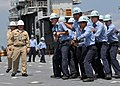 US Navy 090611-N-1229B-051 Sailors of the USS Abraham Lincoln (CVN 72) take part in a simulated flight deck fire drill aboard the decommissioned aircraft carrier Ranger (CV 61).jpg