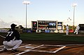 US Navy 100318-N-5366K-209 Navy Counselor 2nd Class Paul Lacey, assigned to Navy Recruiting District Miami, throws out the first pitch at a New York Yankees spring training game at Steinbrenner Field in Tampa, Fla.jpg