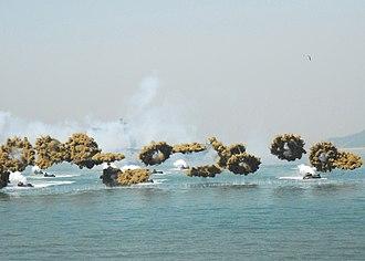 Smoke screen - Amphibious vehicles deploying smoke grenades