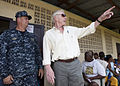 US Navy 100916-M-6740B-222 Capt. William J. Tanner, left, joint medical group commander for Operation Continuing Promise 2010, and U.S. Ambassador.jpg