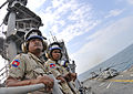 US Navy 110227-N-9950J-210 Royal Cambodian Navy officers observe flight quarters during a ship tour aboard the forward-deployed amphibious assault.jpg