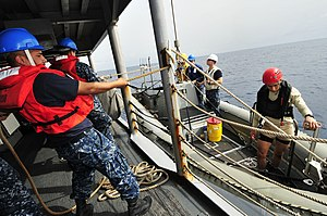 US Navy 120211-N-IZ292-077 Seaman James Aguilar steadies a rigid-hull inflatable boat during small boat operations aboard the guided-missile frigat.jpg