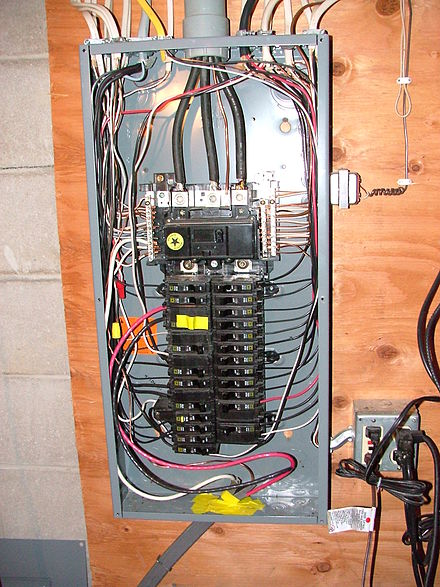circuit breaker wikivisually electrical wiring in north america a typical circuit breaker box for a us home cover removed electrical wiring in north america non metallic nm
