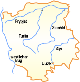 Styr River - The Styr River on the Map of Rivne Oblast.