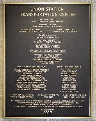 Springfield Union Station (Massachusetts) - Bronze re-dedication plaque at the Union Station Transportation Center in Springfield, Massachusetts.