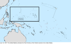 Map of the change to the United States in the Pacific Ocean on July 18, 1947