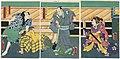 Utagawa Kunisada II - Actors Ichimura Kakitsu IV as Okaru, Ichikawa Danzô VI as Ôboshi Yuranosuke, and Ichikawa Kodanji IV as both Ono Kudayû and Teraoka Heiemon.jpg