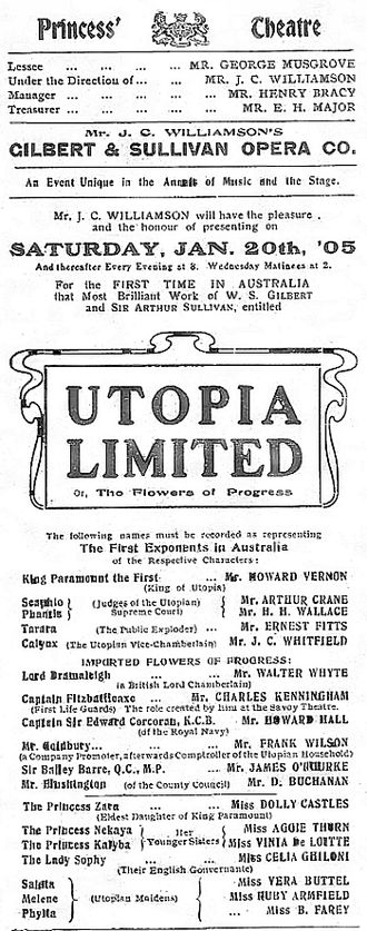Henry Bracy - Theatre Poster for Utopia Limited managed by Bracy