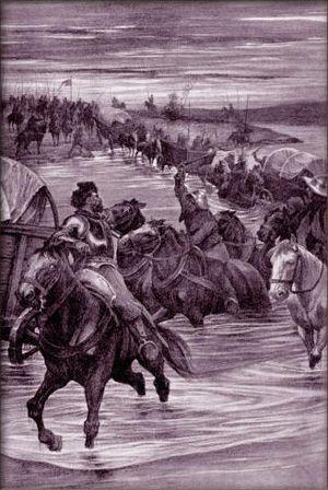 Battle of Deutschbrod - Image: Věnceslav Černý Odchod vojů Žižkových z Kostelce nad Labem