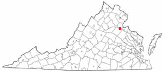 National Register of Historic Places listings in Fredericksburg, Virginia - Location of Fredericksburg in Virginia