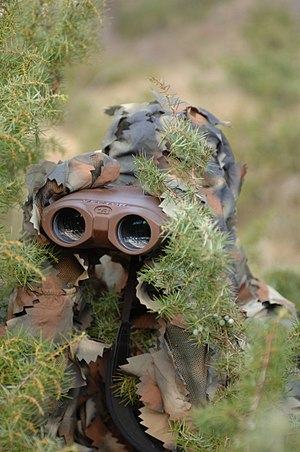 Ghillie suit - A hunter wearing a commercially manufactured ghillie suit
