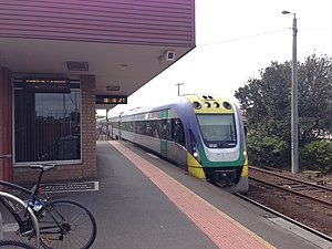 South Geelong railway station - VLocity Waurn Ponds service arriving at South Geelong