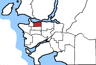Vancouver East - Vancouver East in relation to other federal electoral districts in Vancouver