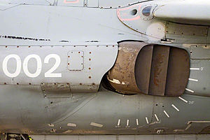 British Aerospace Sea Harrier - Sea Harrier FA2 ZA195 (upgrade) vector thrust nozzle – distinguishing feature of the jump jet