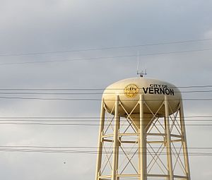 The municipal water tower in Vernon, California.