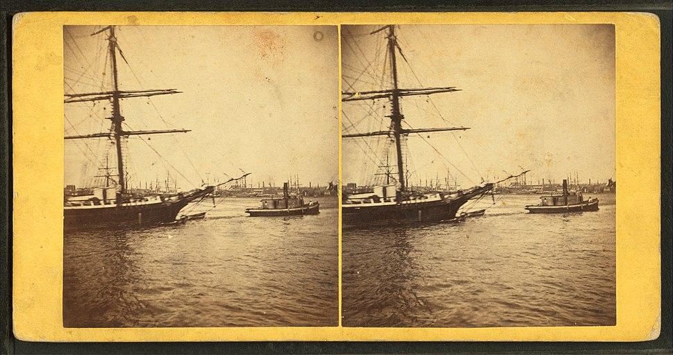 Vessel in tow, by John B. Heywood