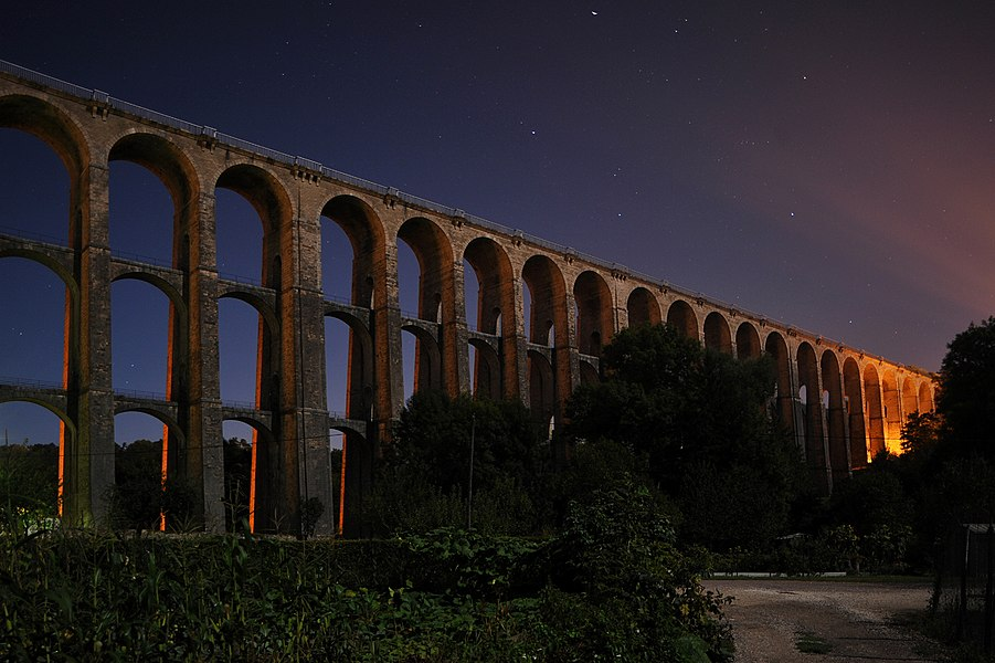 Chaumont viaduct at moonlight; Haute-Marne, France.