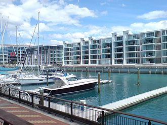 Viaduct Harbour - Lighter Basin area, at the western edge of the Viaduct Harbour