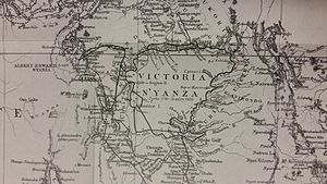 Lake Victoria - Victoria Nyanza. The black line indicates Stanley's route.